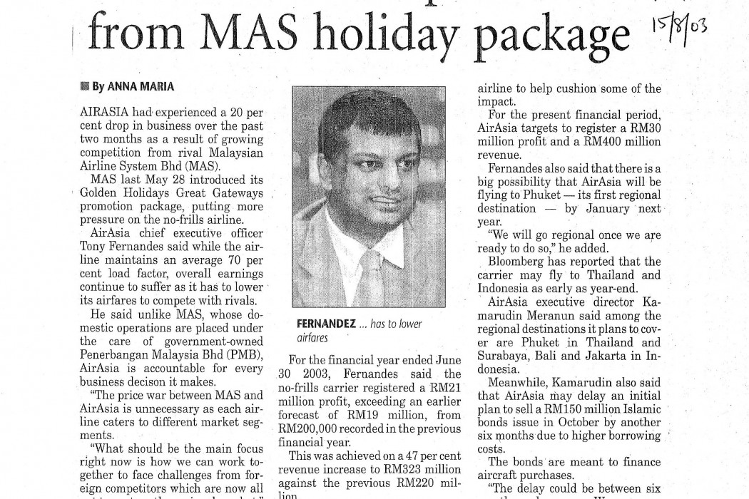 airasia sees competition from MAS holiday package