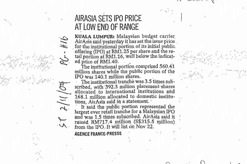 airasia sets IPO price at low end of range