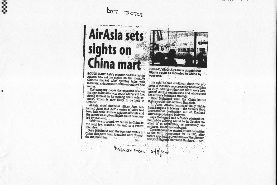 airasia sets sights on China mart
