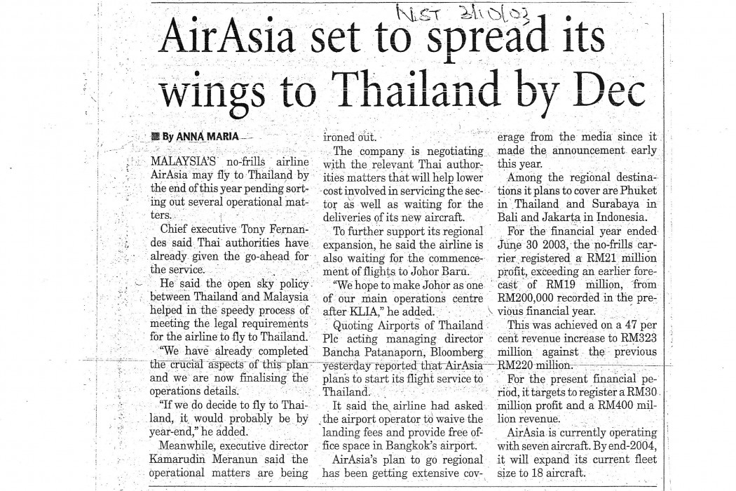 airasia sets to spread its wings to Thailand by Dec