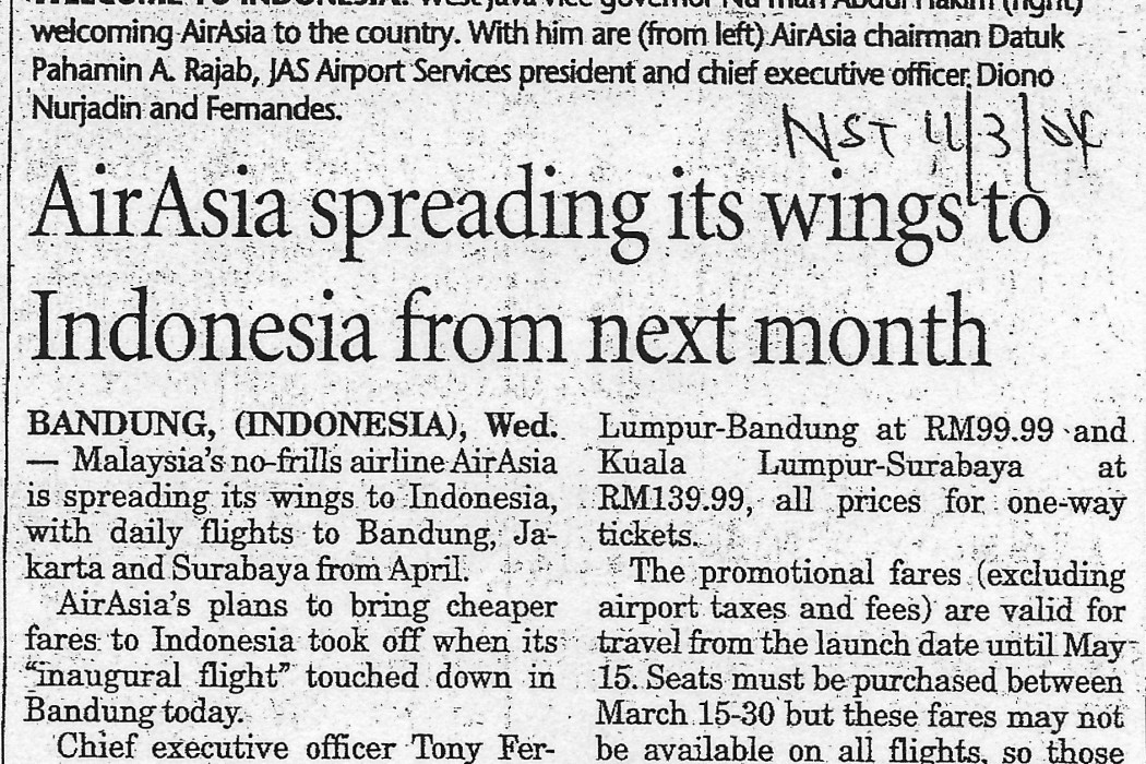 airasia spreading its wings to Indonesia from next month