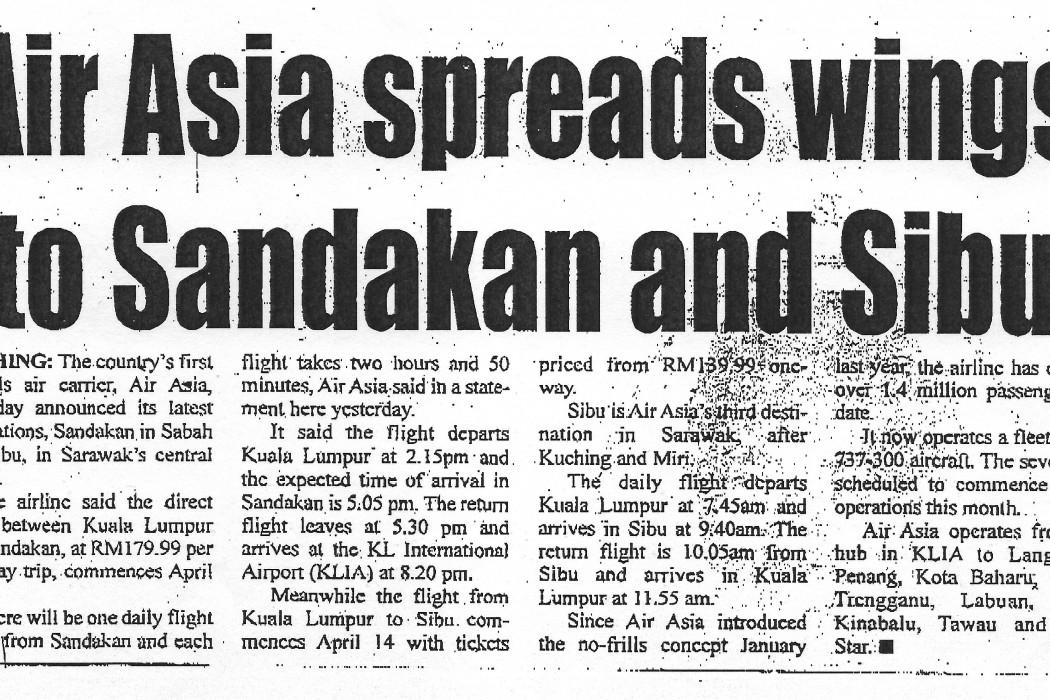 airasia spreads wings to Sandakan and Sibu