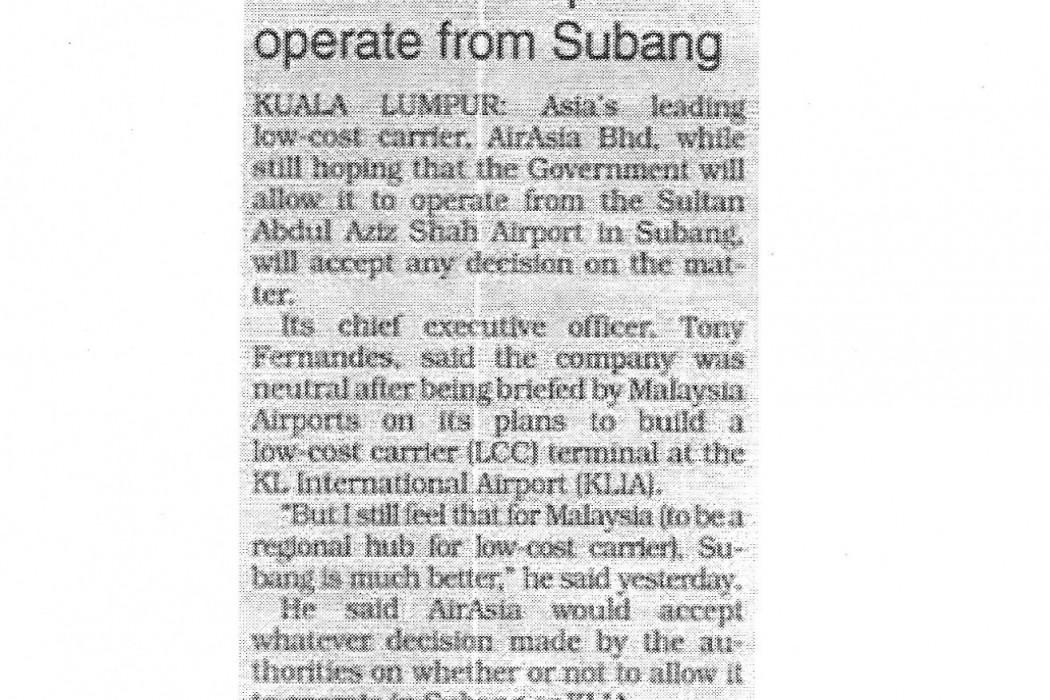 airasia still hopes to operate from Subang