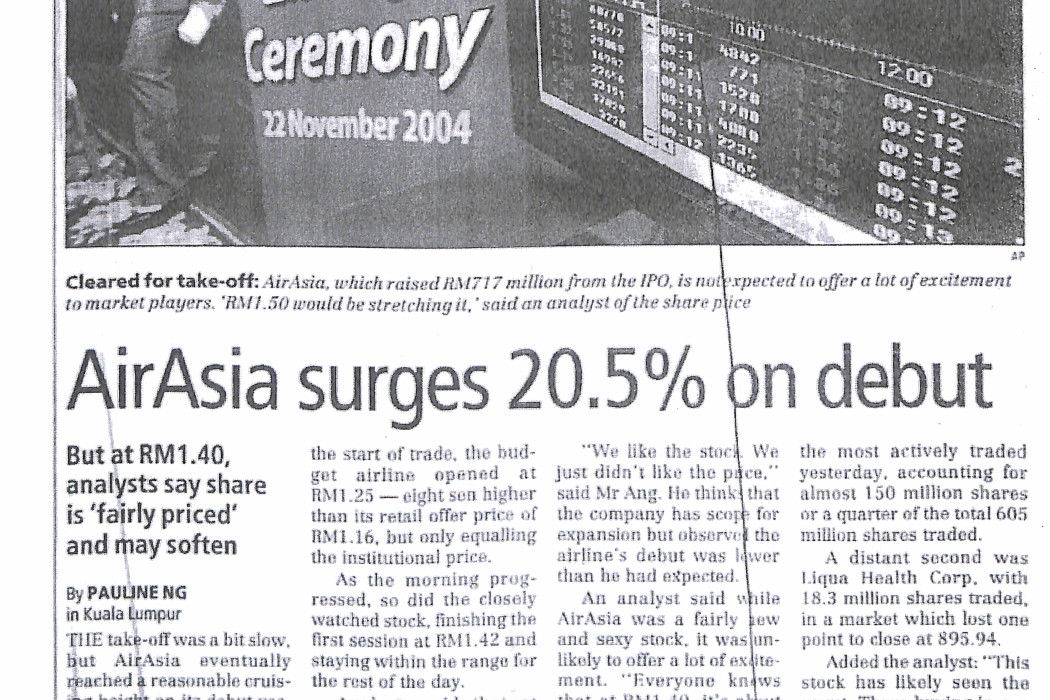 airasia surges 20.5% on debut