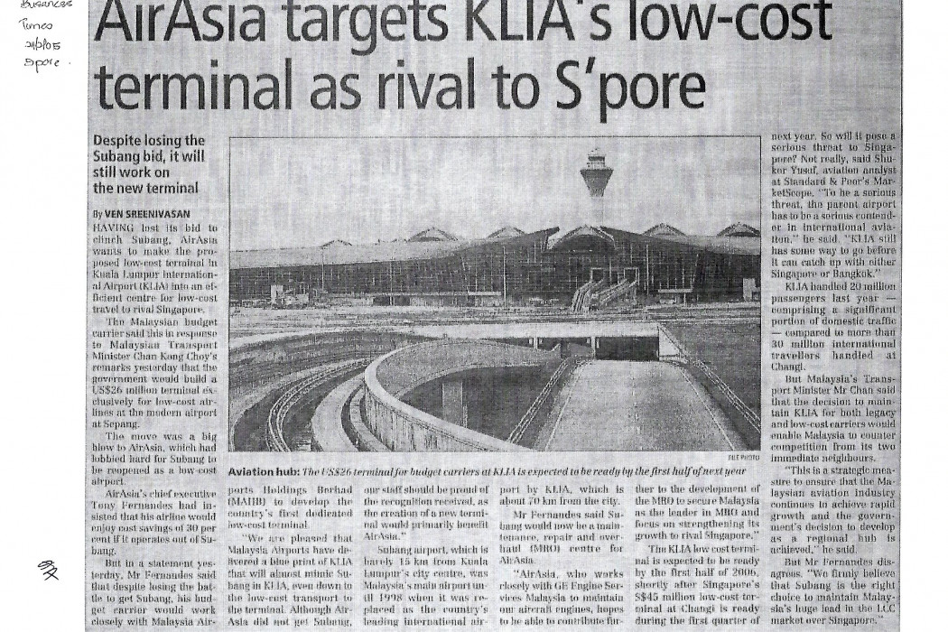 airasia targets KLIA's low-cost terminal as rival to S'pore