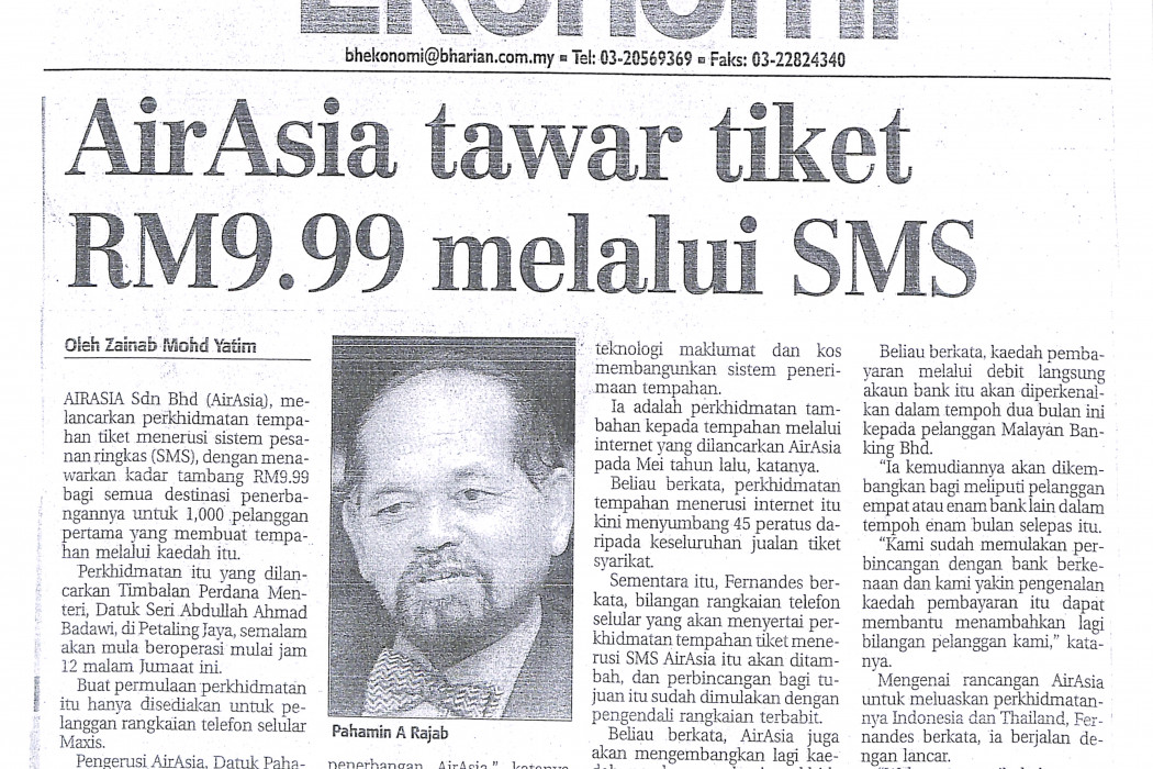 airasia tawar tiket RM9.99 melalui SMS