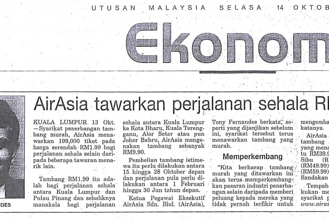 airasia tawarkan perjalanan sehala RM1.99