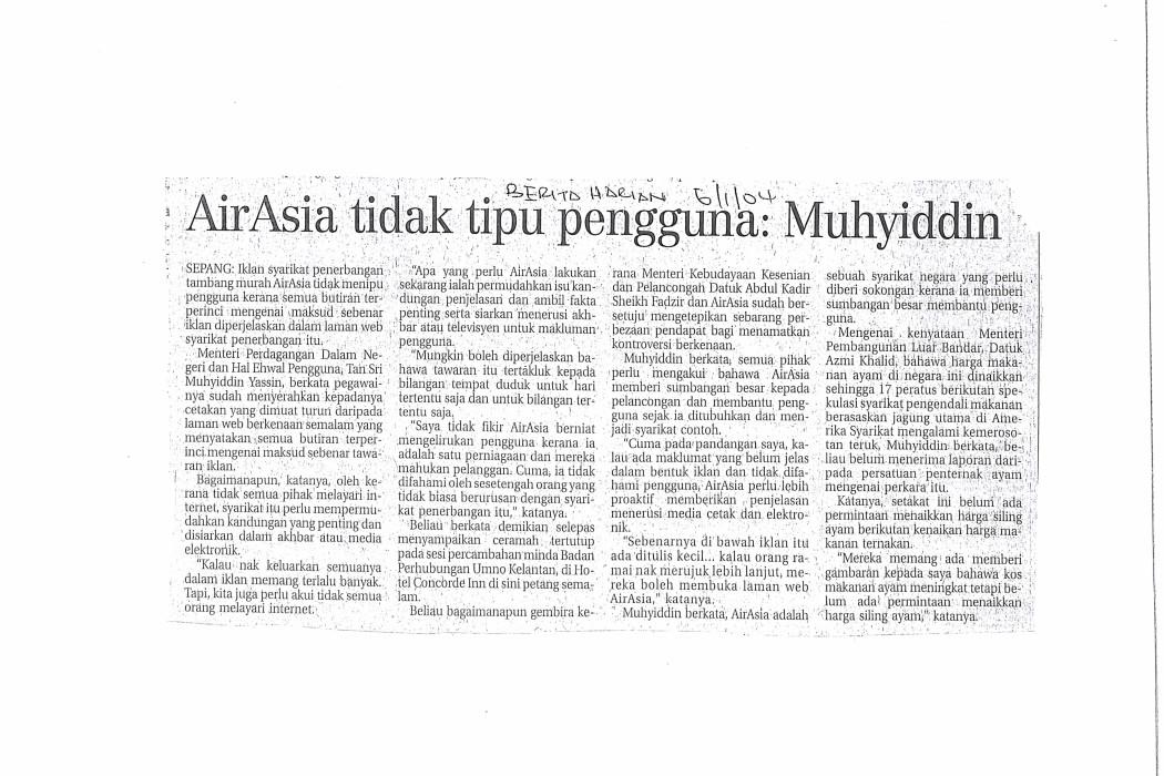 airasia tidak tipu pengguna; Muhyiddin