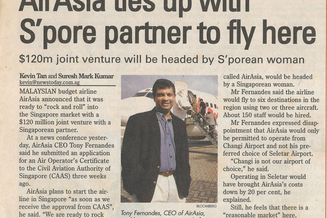 airasia ties up with S'pore partner to fly here