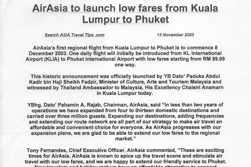 airasia to Launch Low Fares from Kuala Lumpur to Phuket (1)