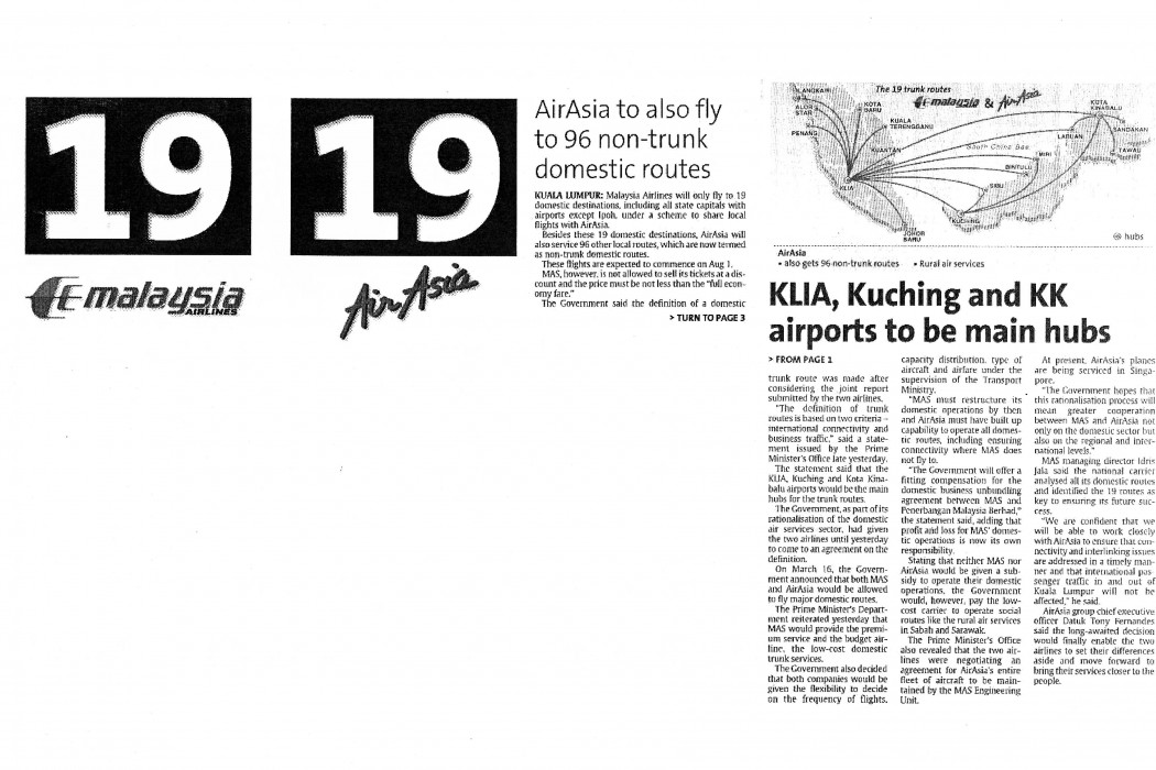 airasia to also fly to 96 non-trunk domestic routes; KLIA Kuching and KK airports to be main hubs