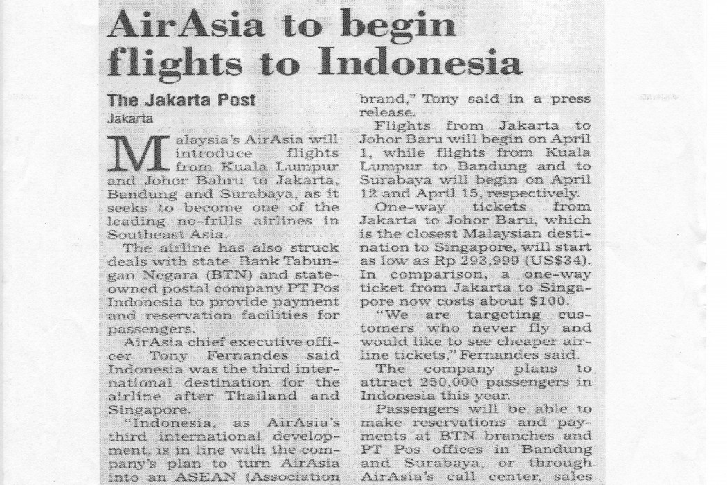airasia to begin flights to Indonesia