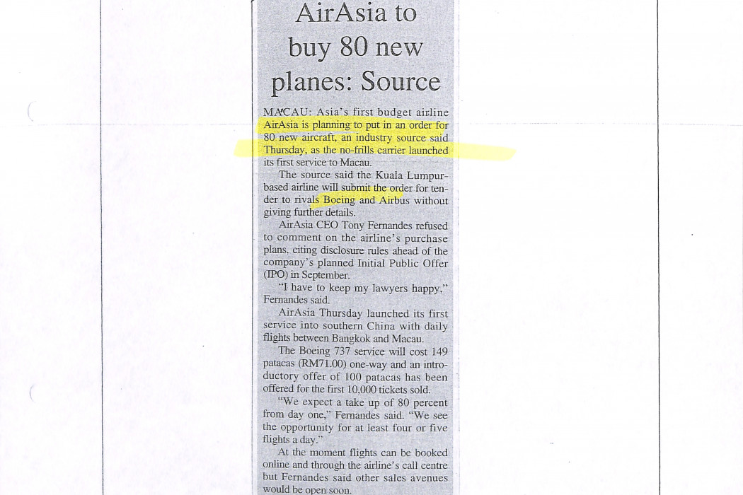 airasia to buy 80 new planes Source (photocopy)