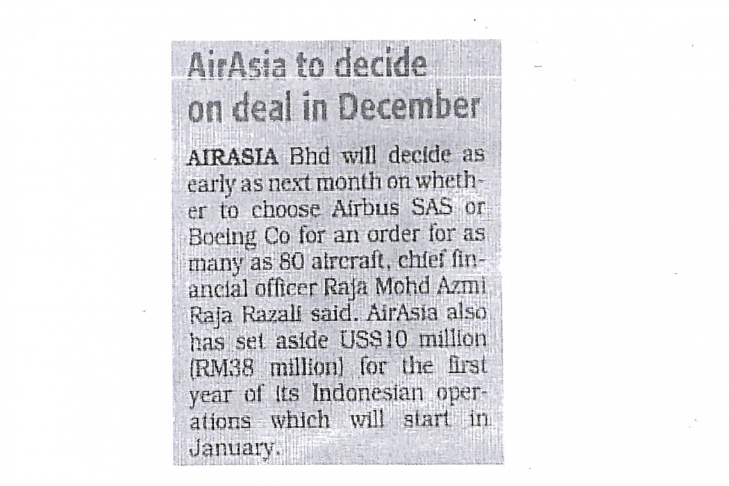 airasia to decide on deal in December