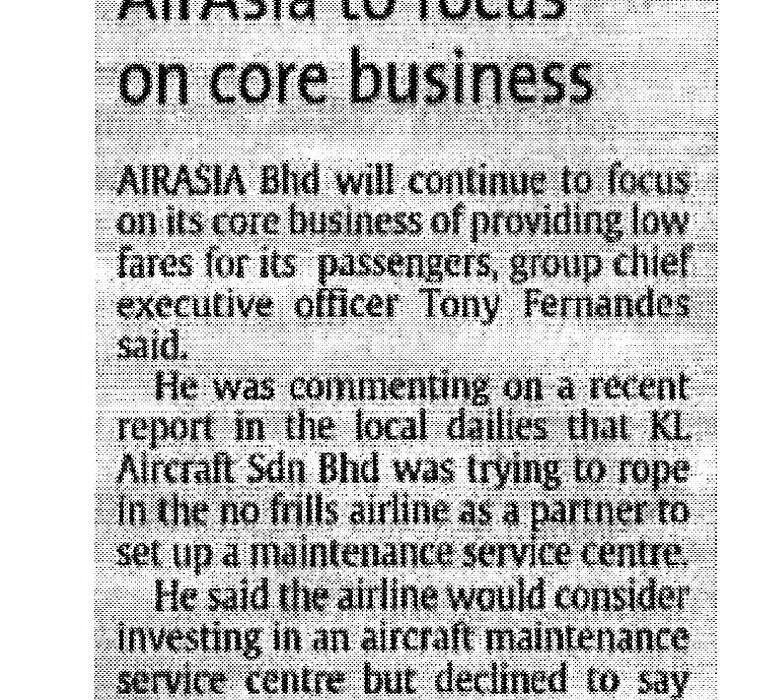 airasia to focus on core business