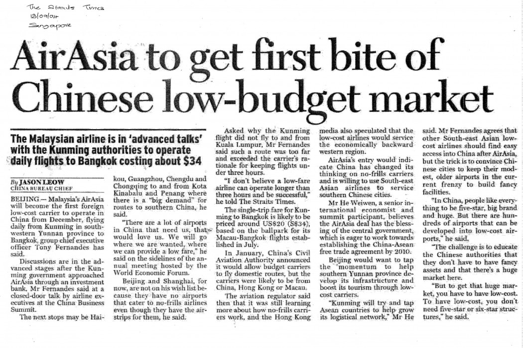 airasia to get first bite of Chinese low-budget market