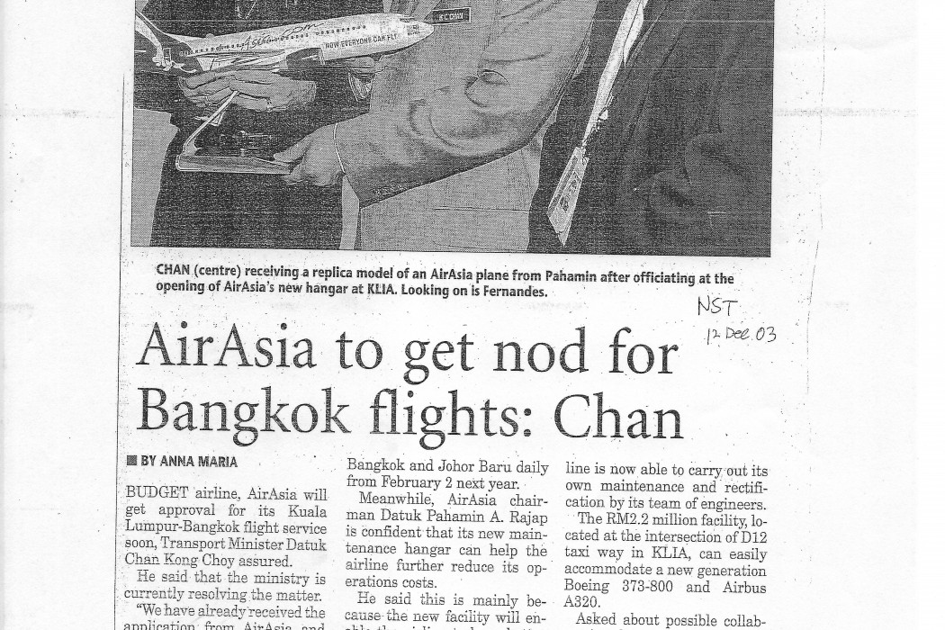 airasia to get nod for Bangkok flights; Chan
