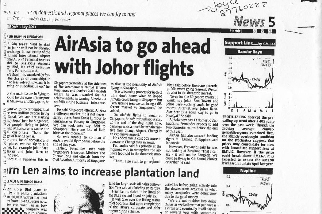 airasia to go ahead with Johor flights