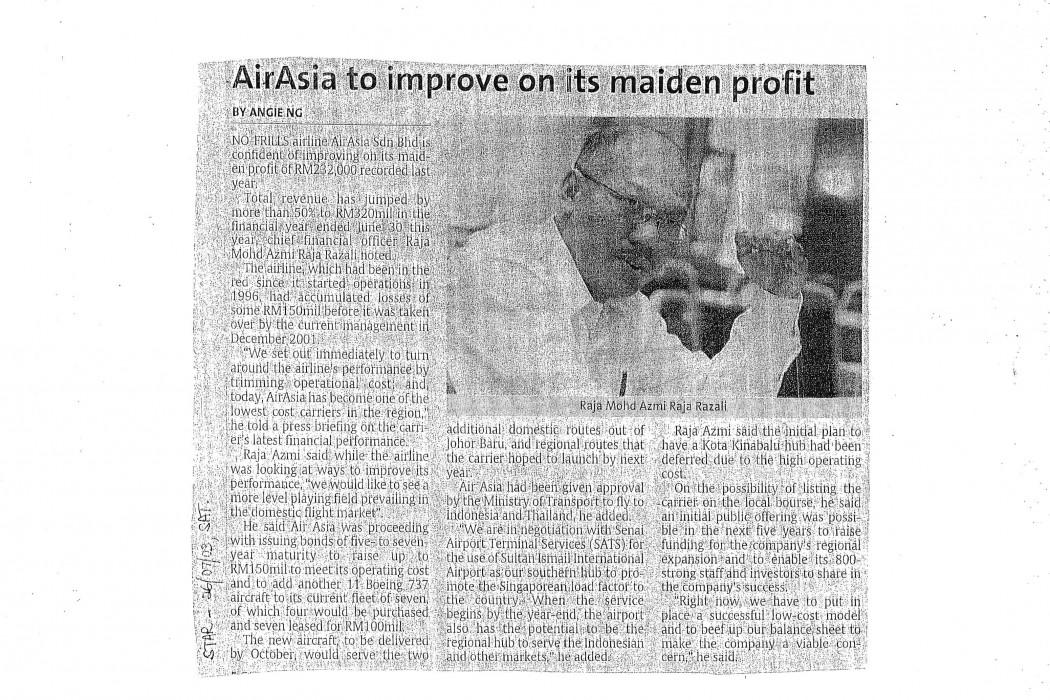 airasia to improve on its maiden profit
