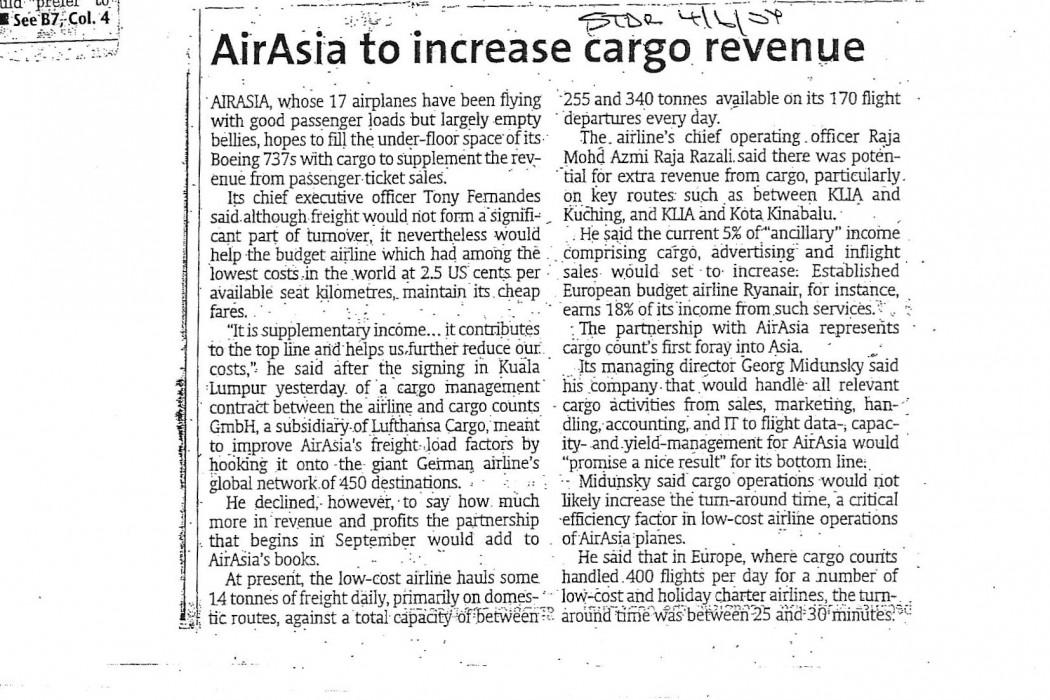 airasia to increase cargo revenue