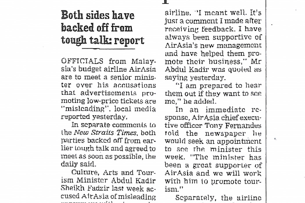 airasia to meet M'sian minister over low-price ads
