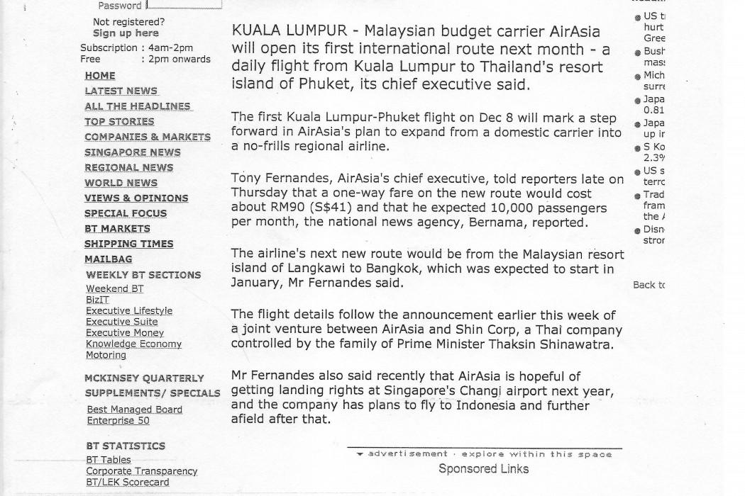 airasia to start international routes in Dec