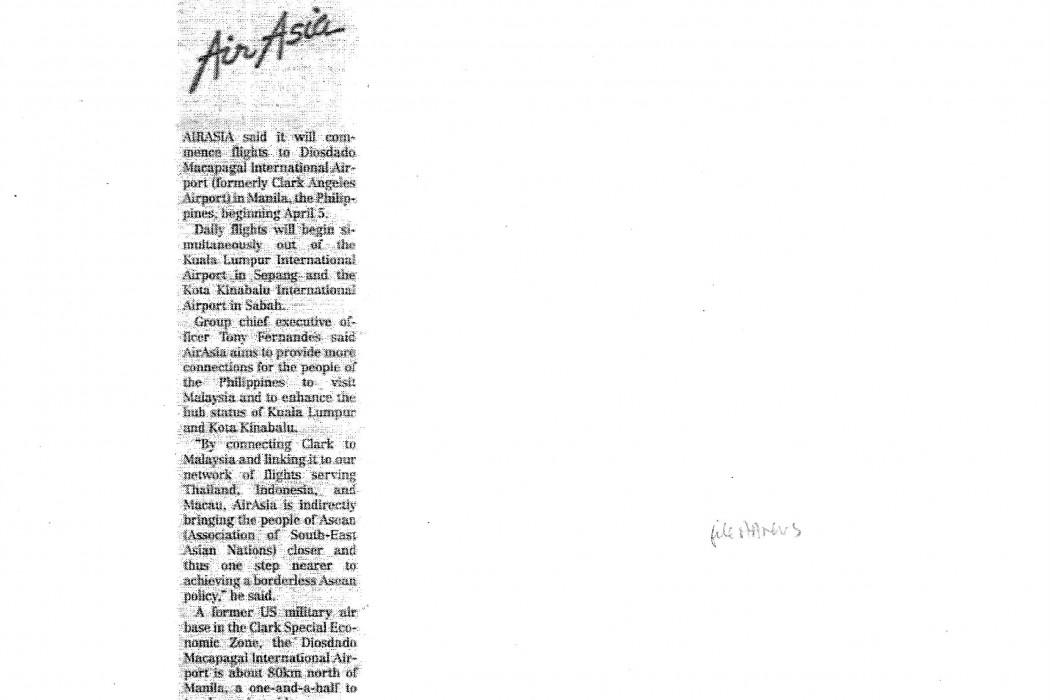 airasia to start service to Clark Apr 5