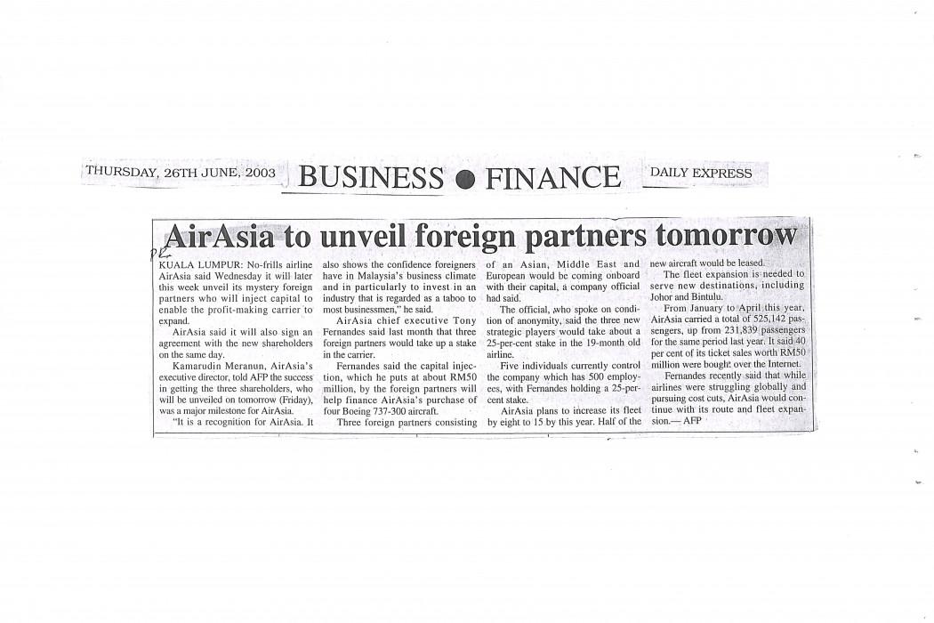 airasia to unveil foreign partners tomorrow
