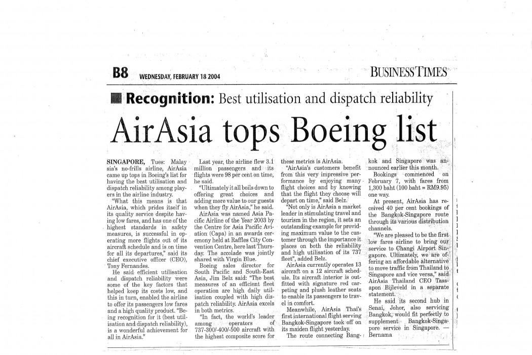 airasia tops Boeing list