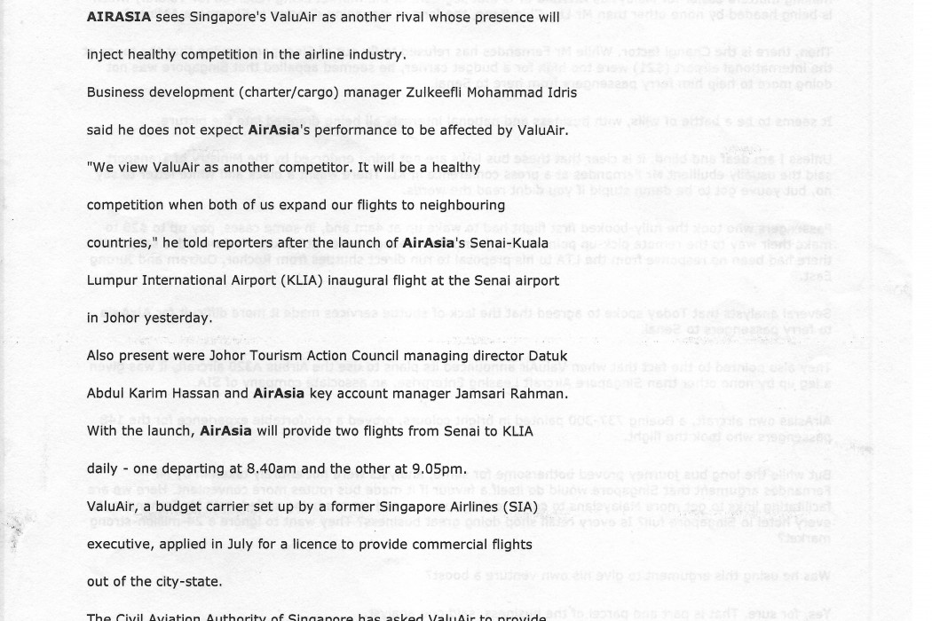 airasia unfazed by competition from ValuAir, sees it as healthy (1)