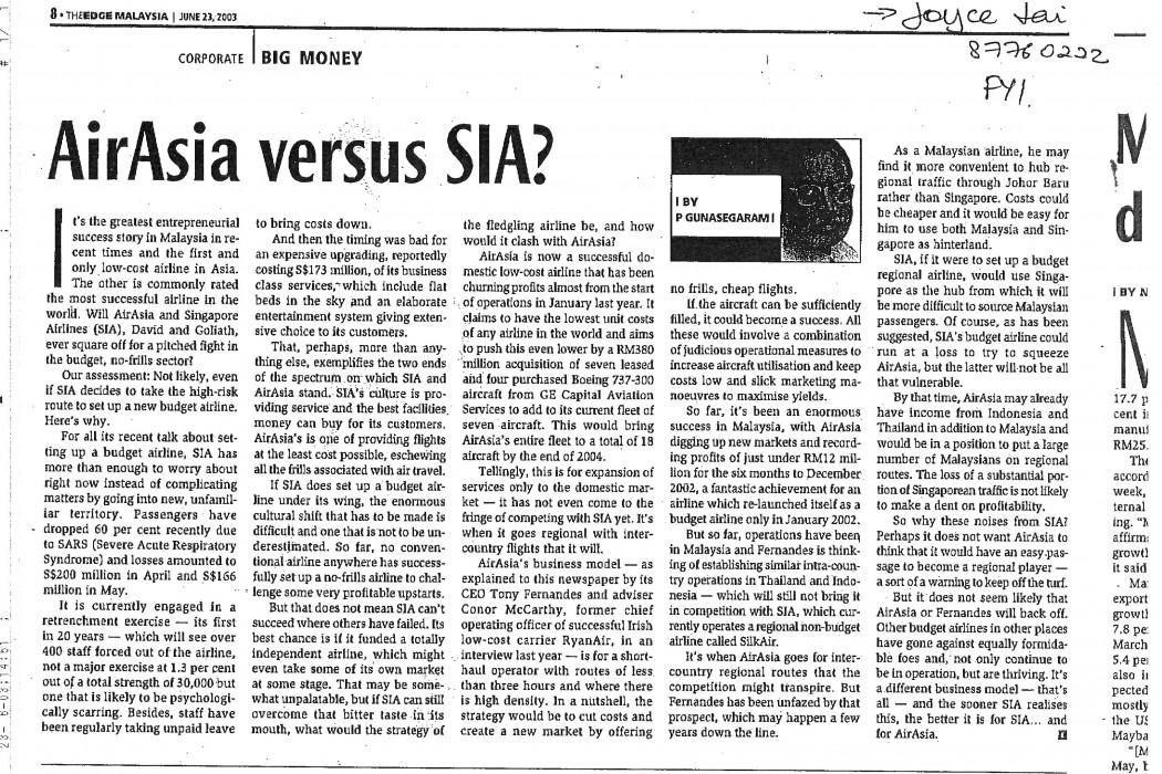 airasia versus SIA