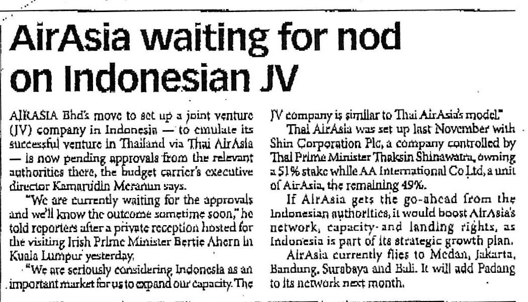 airasia waiting for nod on Indonesian JV