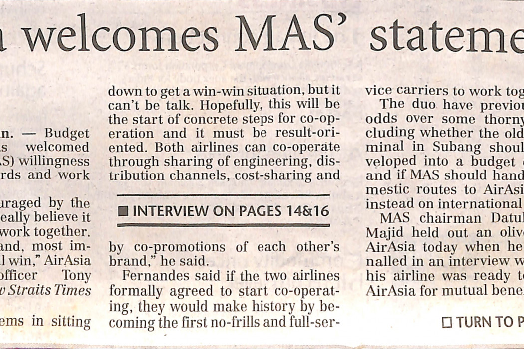 airasia welcomes MAS' statements - 01