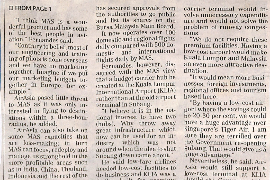 airasia welcomes MAS' statements - 02