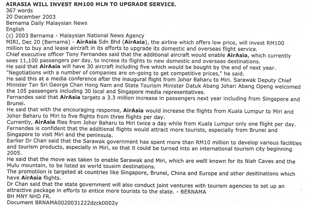 airasia will invest RM100 million to upgrade service