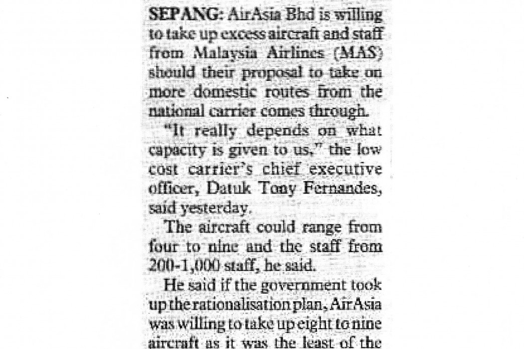 airasia willing to take up excess aircraft, staff from MAS