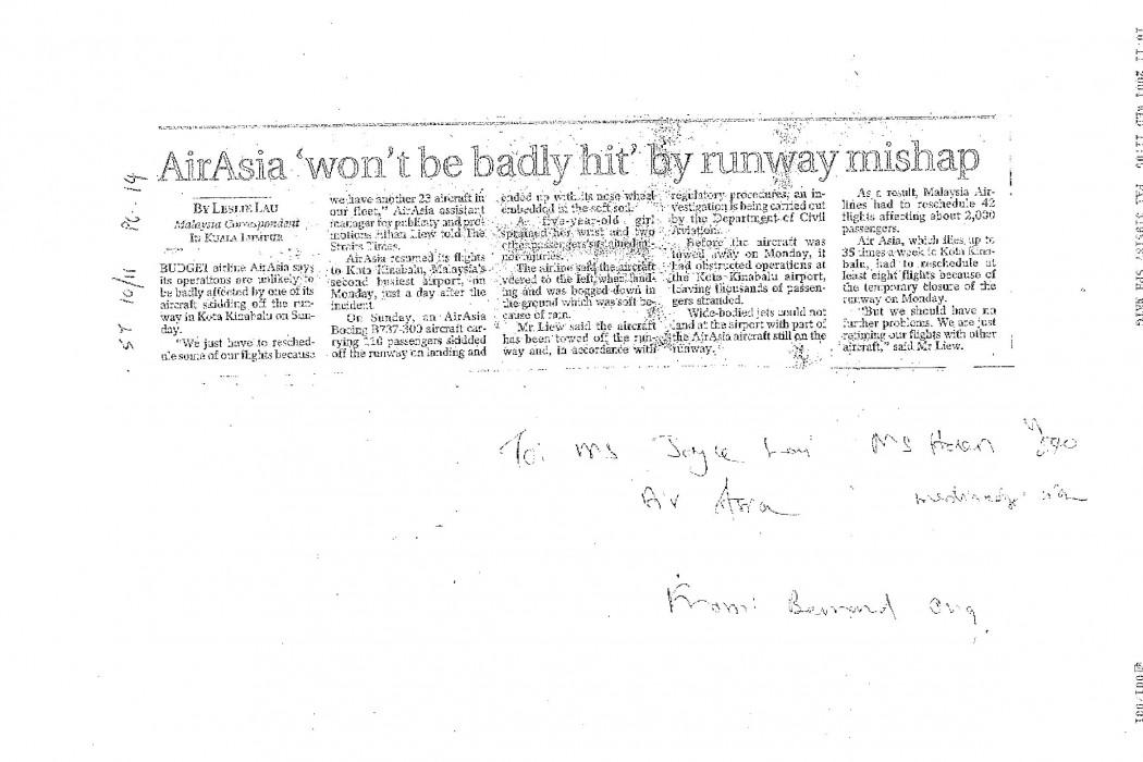 airasia 'won't be badly hit' by runway mishap