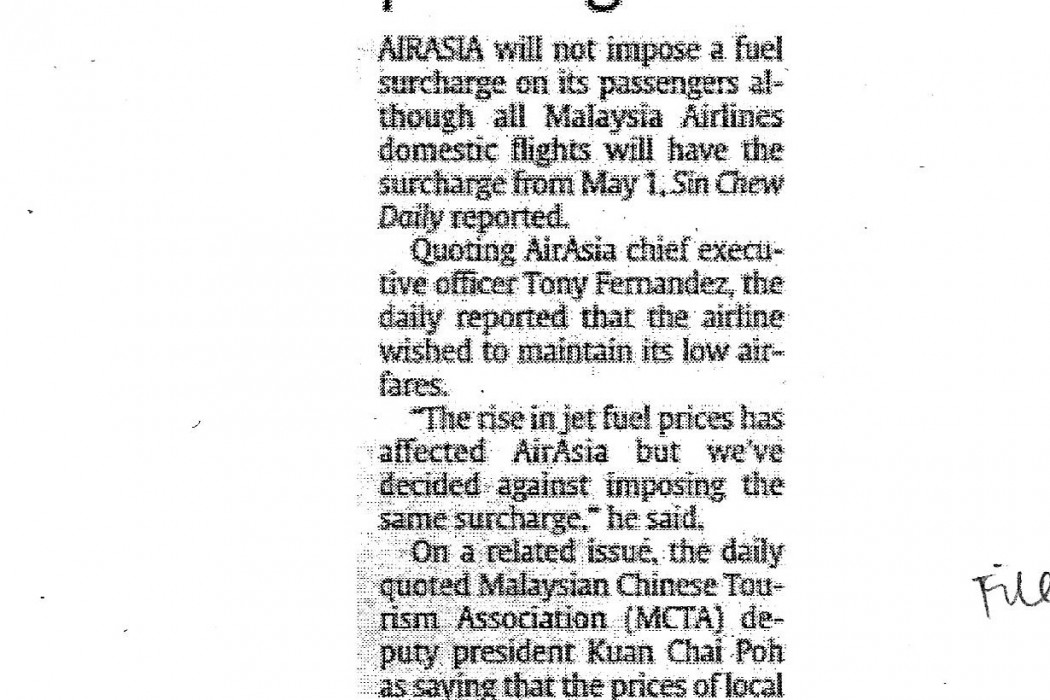 airasia won't impose fuel surcharge on passengers