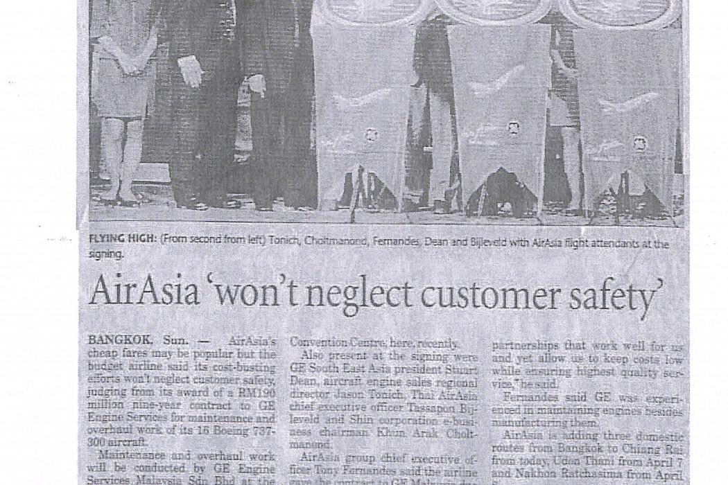 airasia 'won't neglect customer safety'