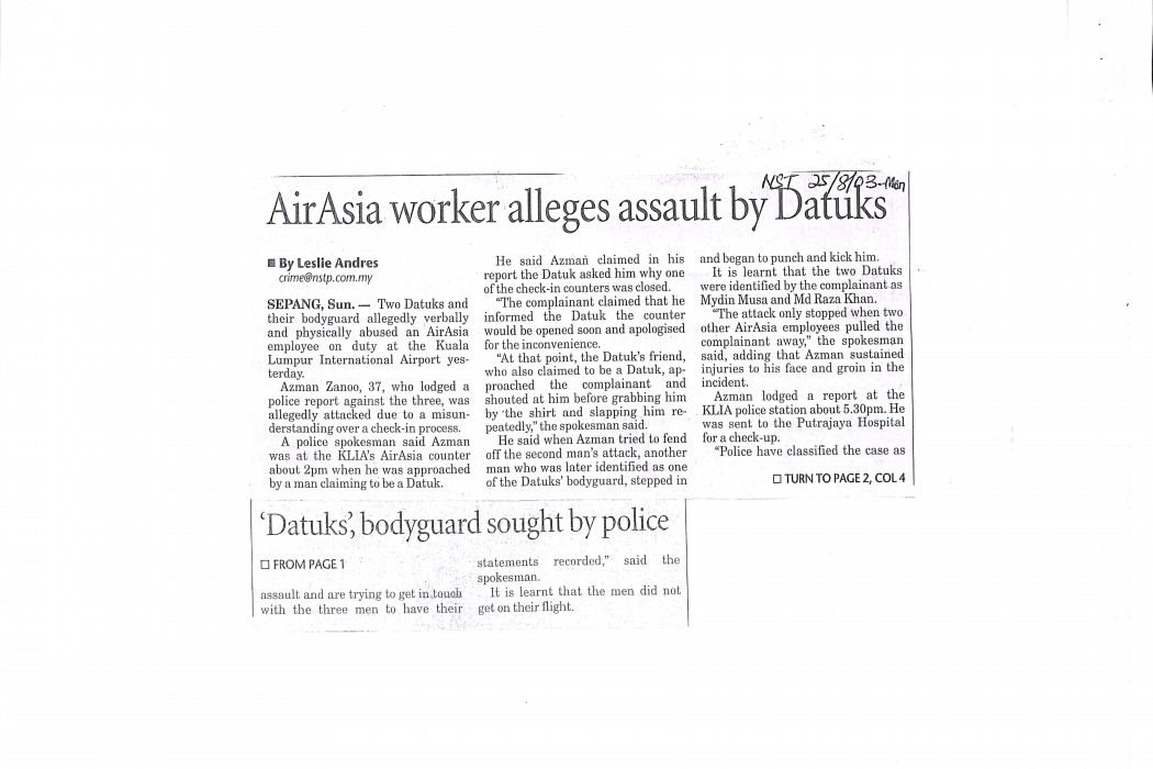 airasia worker alleges assault by Datuks