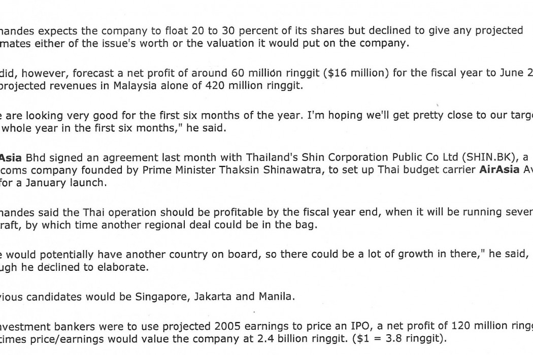 airasia's Fernandes eyes IPO for SeptOct 2004 (2)