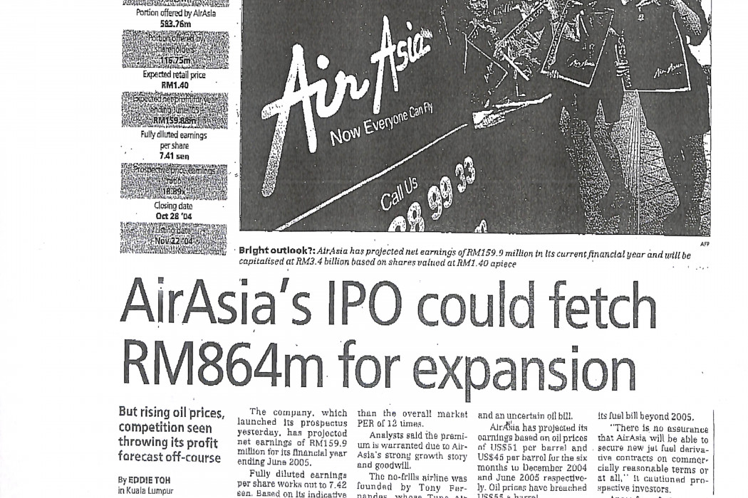 airasia's IPO could fetch RM864m for expansion