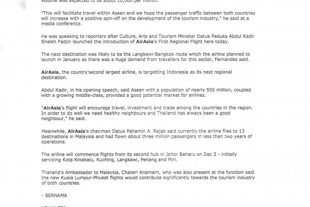 airasia's Maiden Regional Flight to Phuket