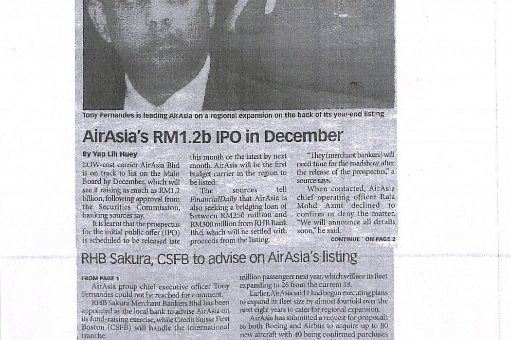 airasia's RM1.2b IPO in December