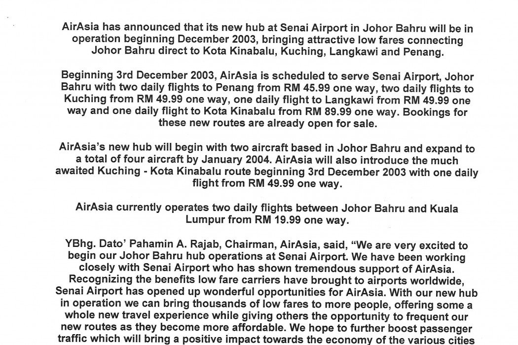airasia's new hub at Johor Bahru to begin new routes in December (1)