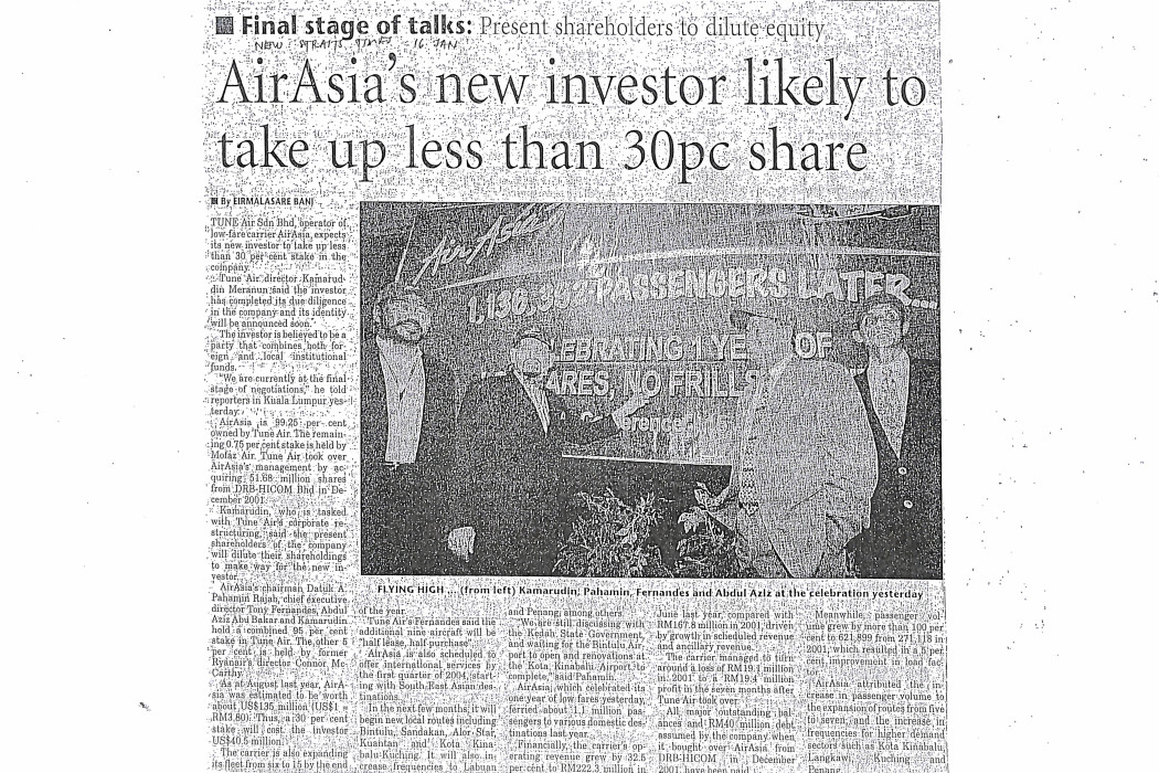 airasia's new investor likely to take up less than 30pc share