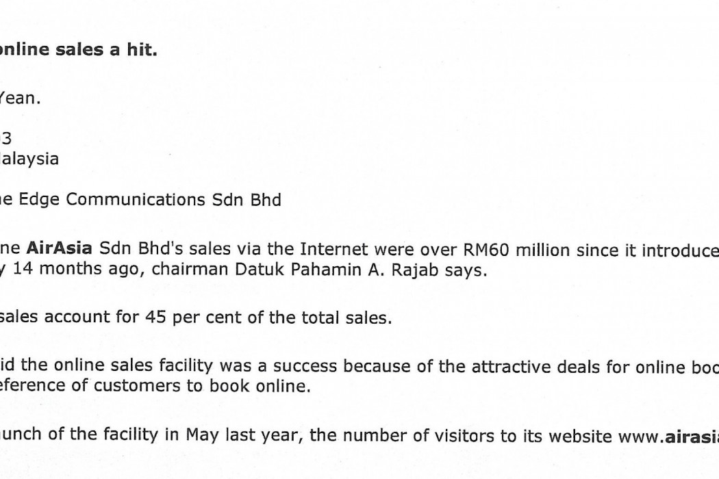 airasia's online sales a hit_0001