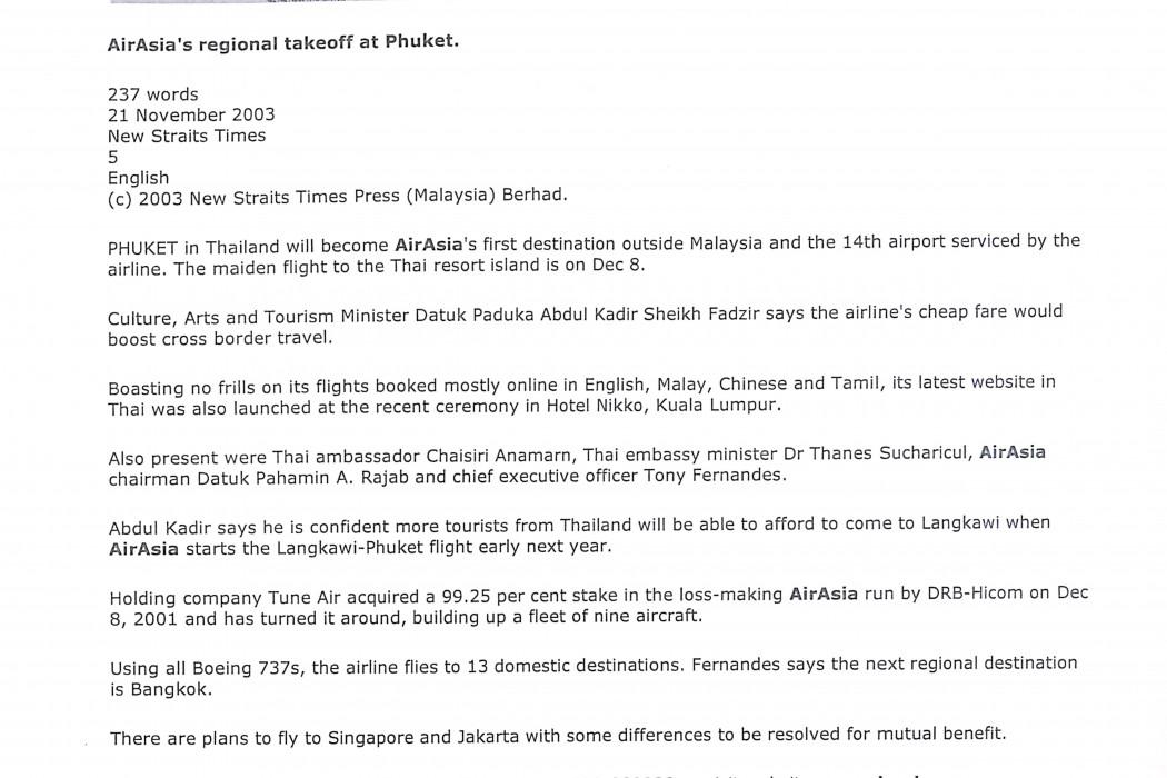 airasia's regional takeoff at Phuket