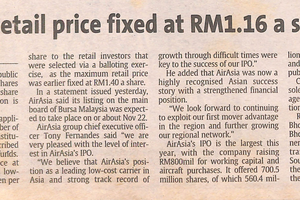 airasia's retail price fixed at RM1.16 a share