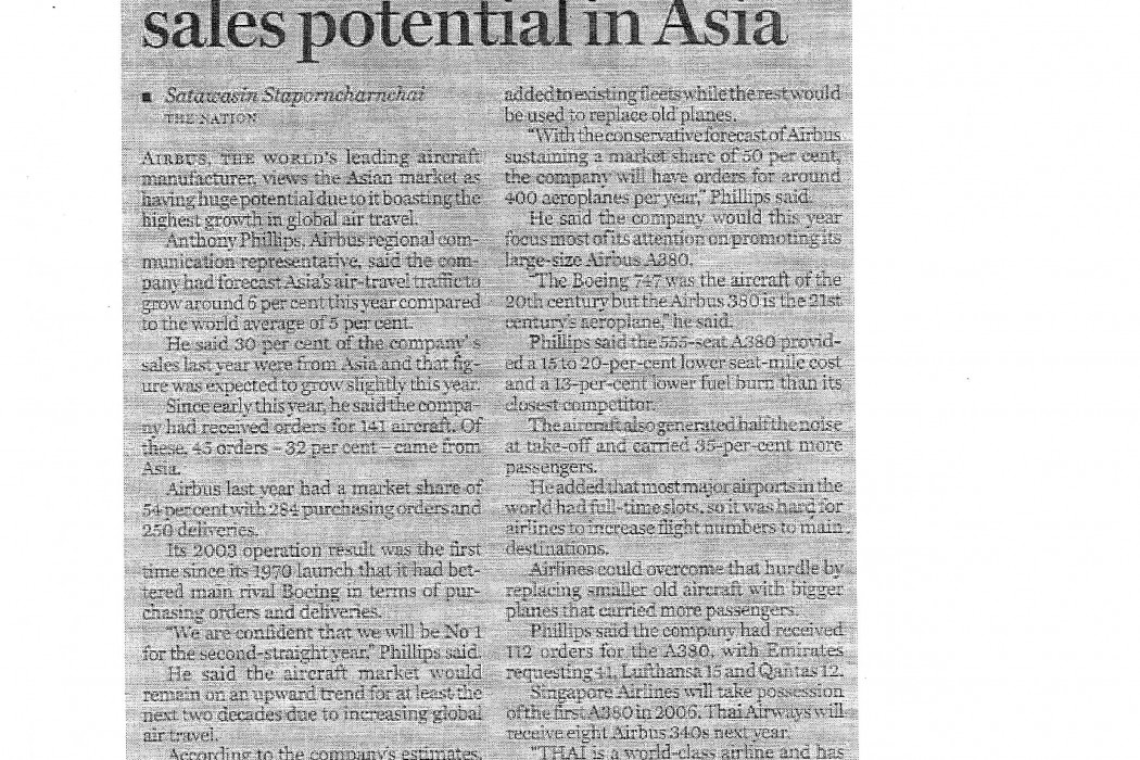 Airbus sees enormous sales potential in Asia